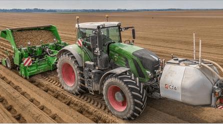 Retrouvez un ensemble Unidisk & Polibar à la préparation des terres lors des plantations de pommes de terre.